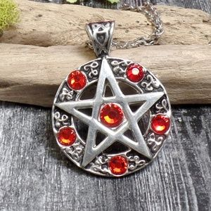 Red Pentacle Necklace - Red Rhinestone